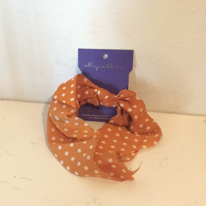 Orange Polka Dot Scrunchie