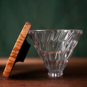 Hario 02 V60 Glass Dripper - Olive Wood
