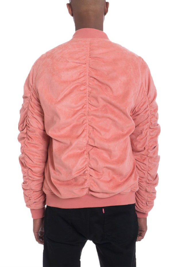 FAUX SUEDE BOMBER- CORAL