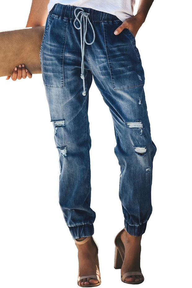 Blue Distress Drawstring Pocketed Ripped Jean