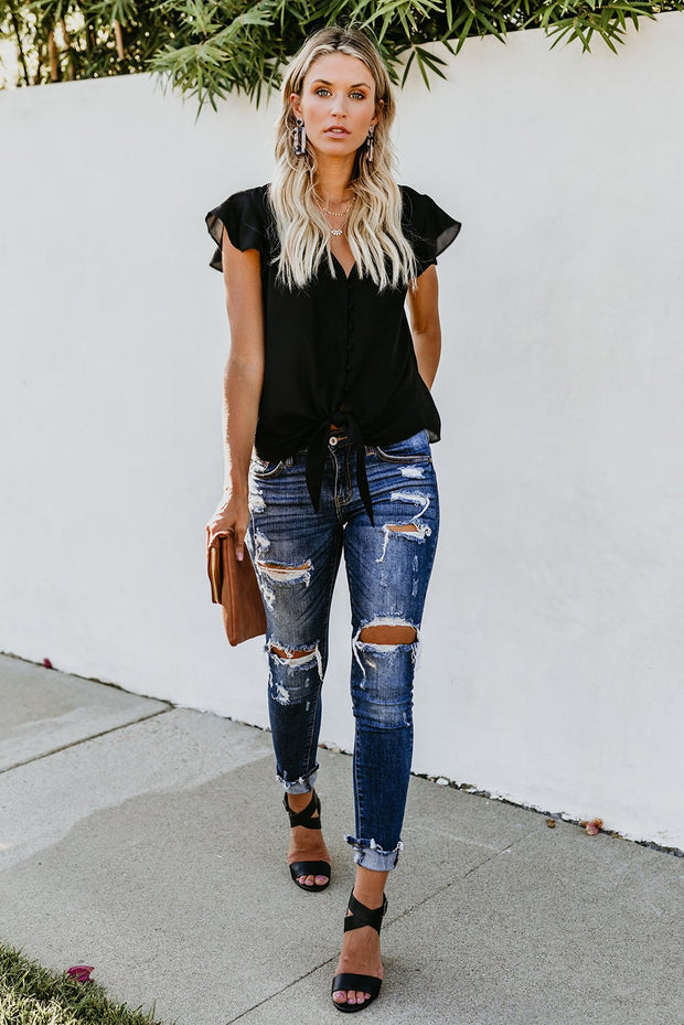 Black Forever Button Down Tie Top