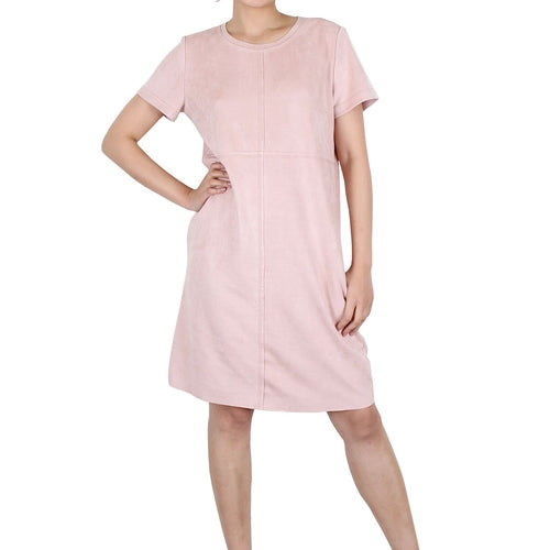 Beige Rose Short Sleeve Knee Dress