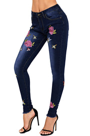 Rose Embroidered  Skinny  Ankle Jeans
