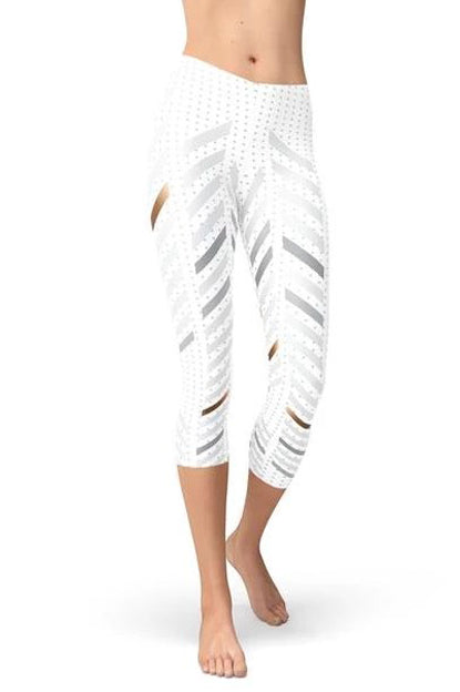 White Striped Capri Leggings