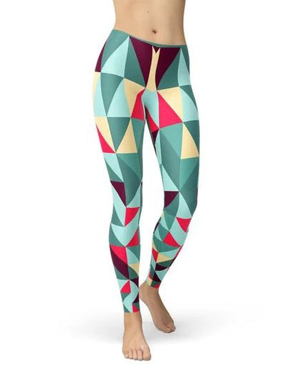 Womens Leggings w/ Colorful Geometric Triangles