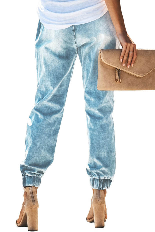 Sky Blue Distress Drawstring Pocketed Ripped Jeans