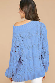 Sky Blue Cable Knit Oversized Pullover Sweater