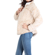 Urban Diction Beige Sherpa Quarter-Zip Pullover