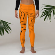 Orange Marble Leggings Capris & Shorts