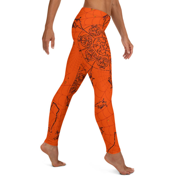 Orange Mandala leggings Capris & Shorts