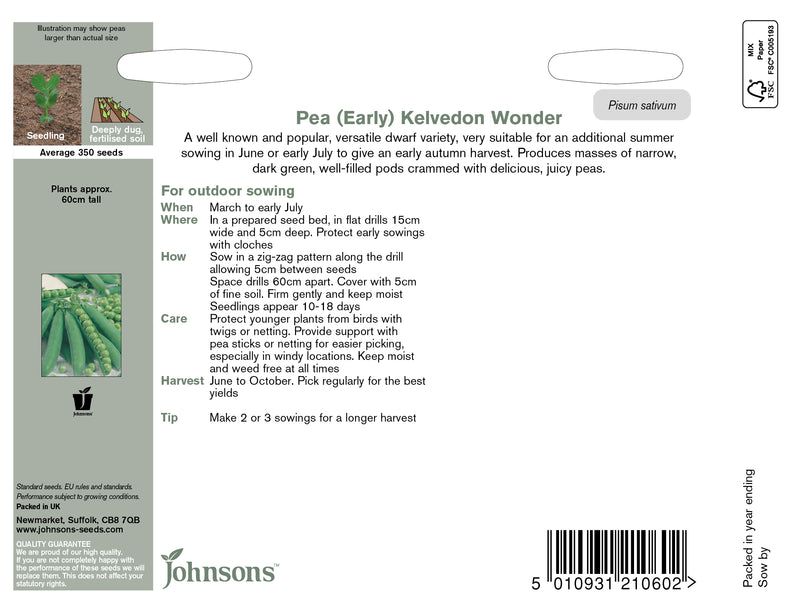 Johnsons 120997 Pisum sativum - Pea Kelvedon Wonder
