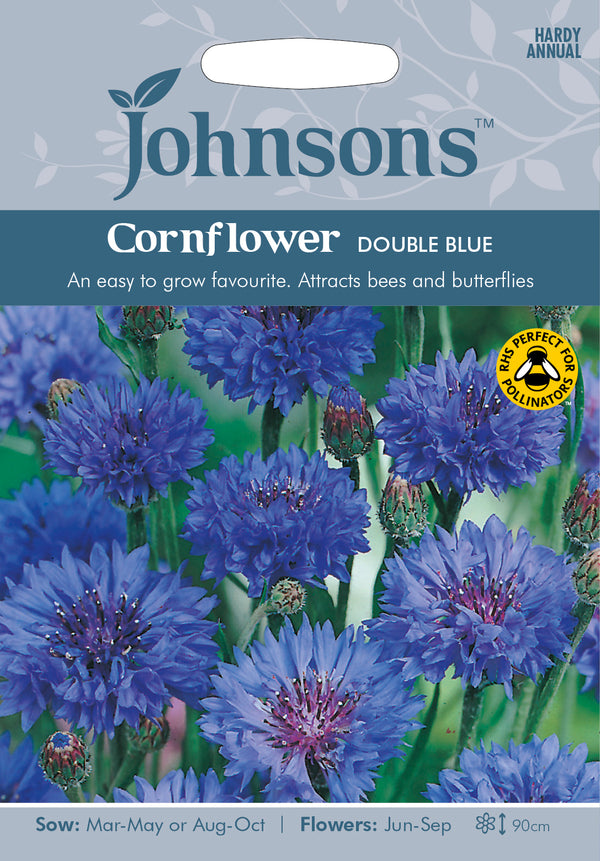 Johnsons 121014 Centaurea cyanus - Cornflower Double Blue