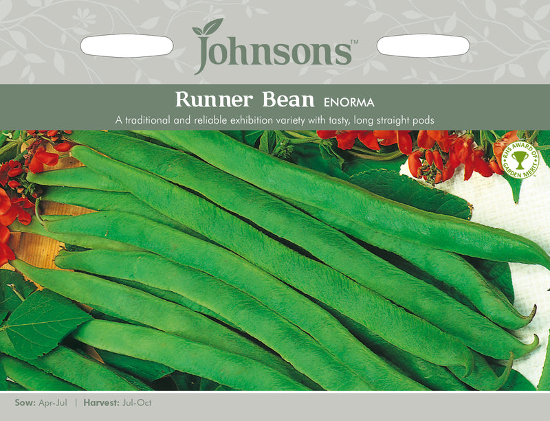Johnsons 121017 Phaseolus coccineus - Runner Bean Enorma
