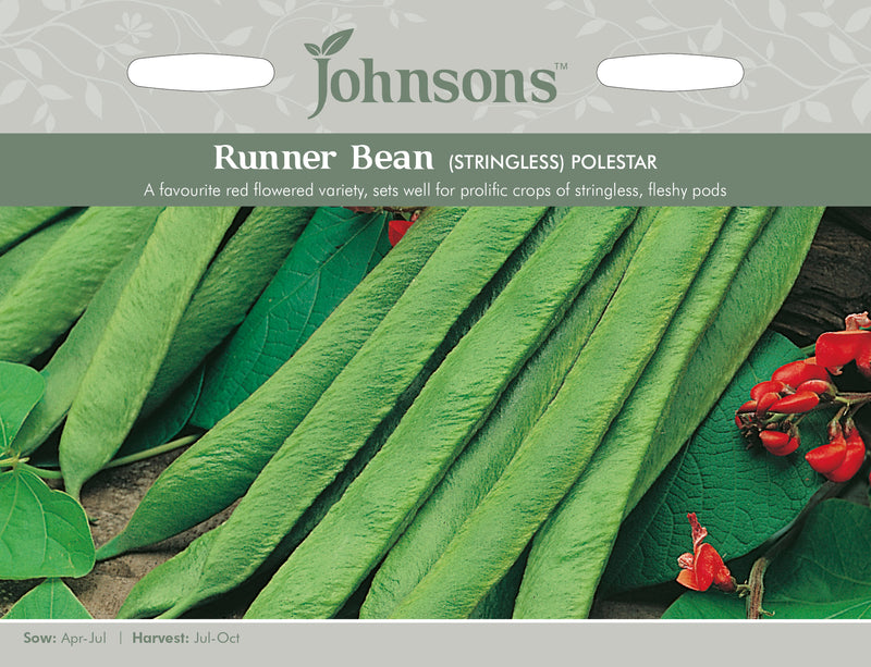 Johnsons 121030 Phaseolus coccineus - Runner Bean Polestar (Stringless)