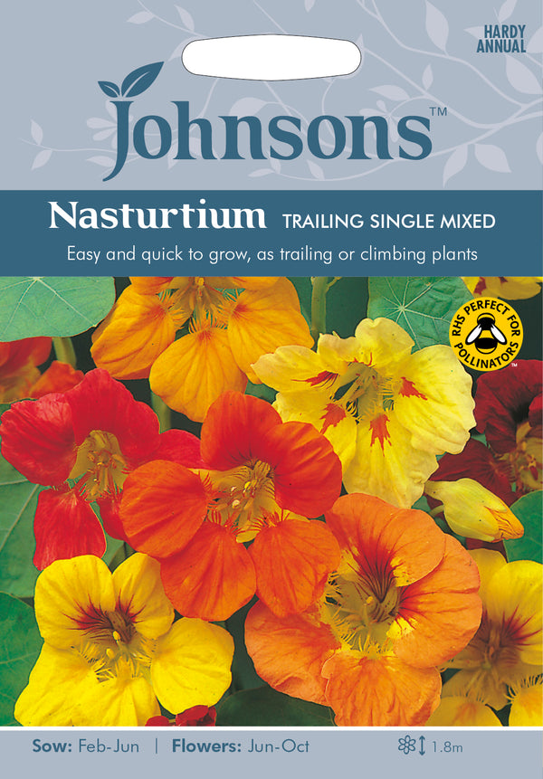 Johnsons 121045 Tropaeolum majus - Nasturtium Trailing Single Mixed