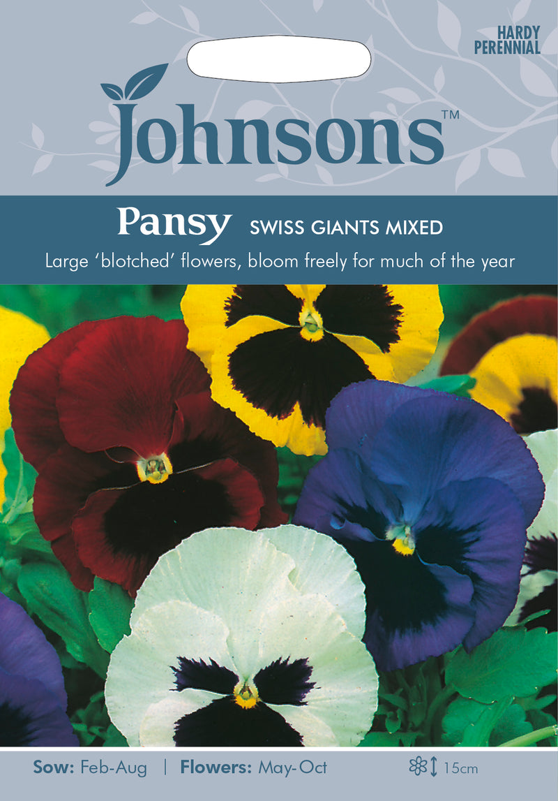 Johnsons 121046 Viola x wittrockiana - Pansy Swiss Giants Mixed