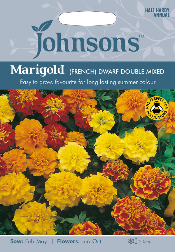 Johnsons 121062 Tagetes patula - Marigold (French) Dwarf Double Mixed