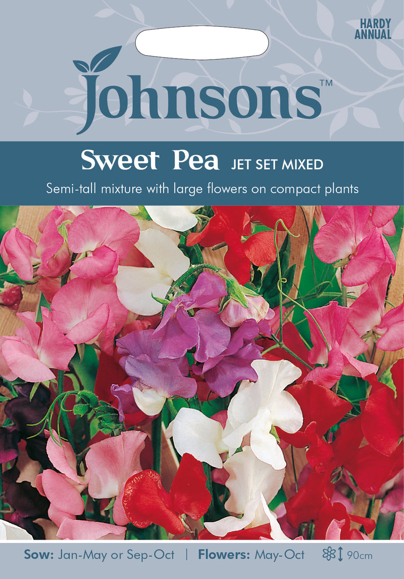 Johnsons 121189 Lathyrus odoratus - Sweet Pea Jet Set Mixed