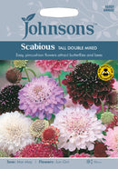 Johnsons 121249 Scabiosa atropurpurea - Scabious Tall Double Mixed - Pincushion Flower