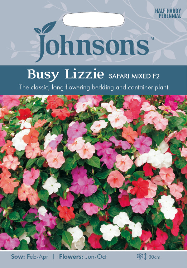 Johnsons 121281 Impatiens walleriana - Busy Lizzie Safari Mixed F2