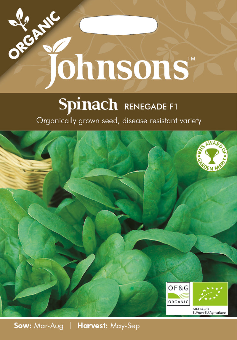 Johnsons 123597 Spinacea oleracea- Spinach Renegade F1 (Organic)