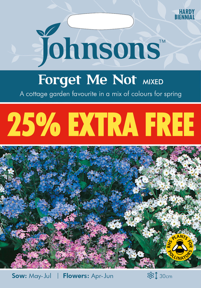 Johnsons 128308 Myosotis sylvatica -  Forget Me Not Mixed - 25% extra FREE