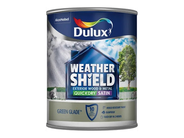 Dulux Weathershield Exterior Quick Dry Satin Green Glade 750ml 5122158