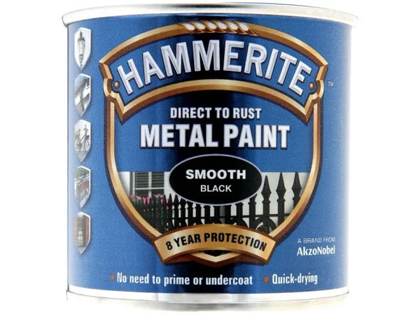 Hammerite Metal Smooth Black 250ml 5084863