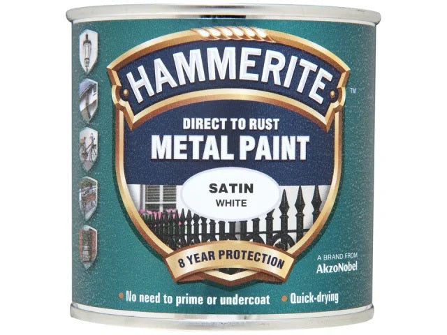 Hammerite Metal Satin Finish White 250ml 5092881