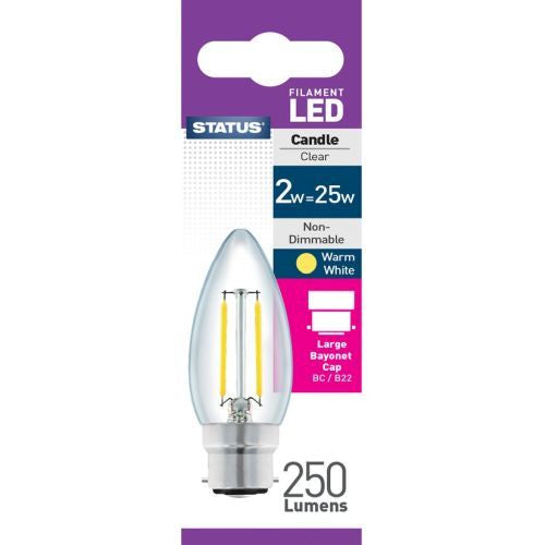 Status Filament LED 2W=25W Candle Large Bayonet Cap Warm White Clear Light Bulb BC-B22