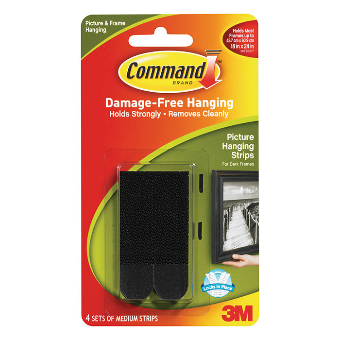 3M Command Medium Picture Strips Black 17201BLK