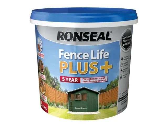 Ronseal Fence Life Plus + Forest Green 5 Litres