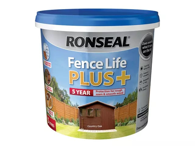 Ronseal Fence Life Plus + Country Oak 5 Litres