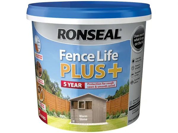 Ronseal Fence Life Plus + Warm Stone 5 Litres 38396