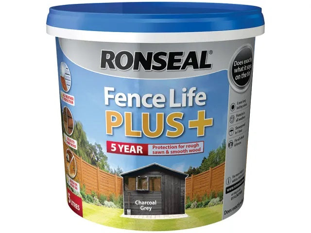 Ronseal Fence Life Plus + Charcoal Grey 5 Litres 38394