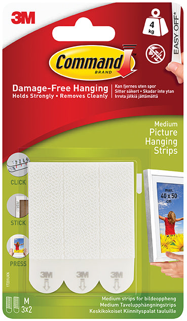 3M Command Medium Picture Strips White 17201
