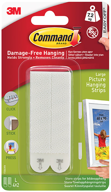 3M Command Large Picture Strips White 17206