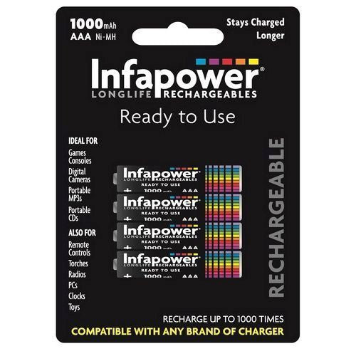 Infapower AAA 1000mAh Battery - Pack of 4