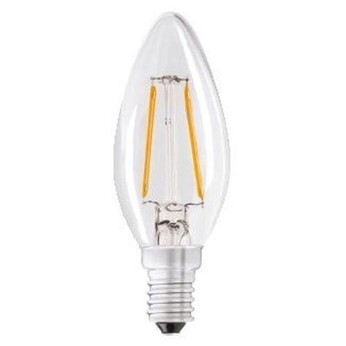 Status Filament LED 2W=25W Candle Small Screw Cap Warm White Clear Light Bulb SES-E14