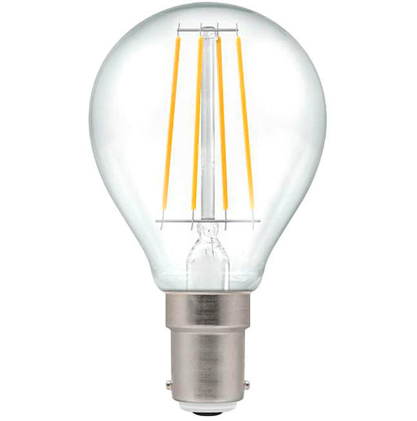 Crompton 7222 Clear LED Golfball Filament Dimmable 5W 2700K Small Bayonet Cap SBC-B15d Lightbulb