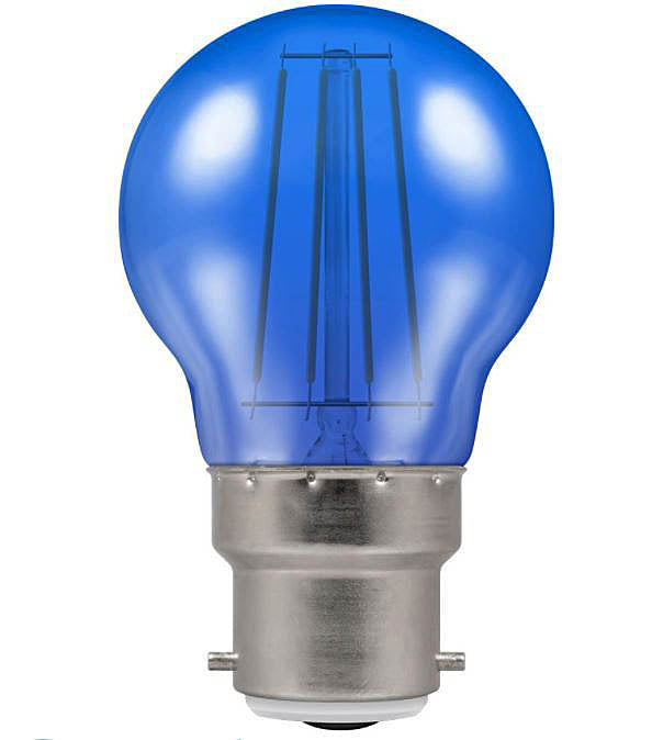 Crompton 9011 Blue Harlequin LED Golfball Filament Non Dimmable 4W=25W Bayonet Cap BC-B22D Lightbulb