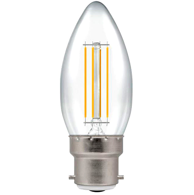 Crompton 7130 Clear LED Candle Filament Dimmable 5W 2700K BC-B22d Lightbulb