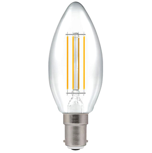 Crompton 7147 Clear LED Candle Filament Dimmable 5W 2700K SBC-B15d Lightbulb
