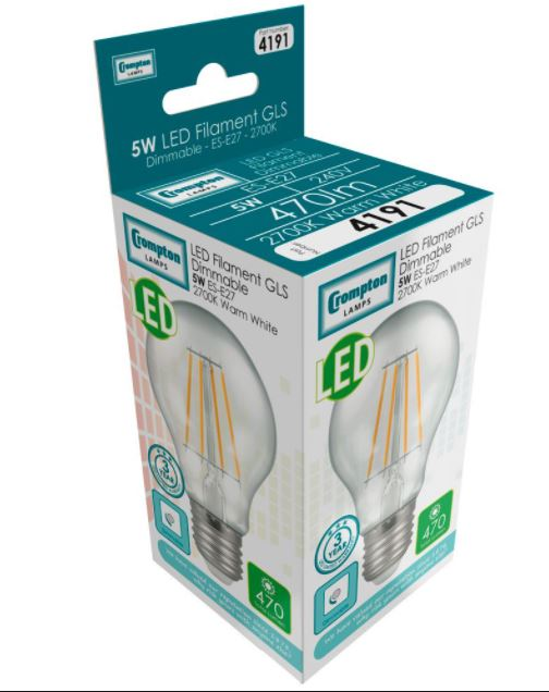 Crompton 4191 Clear LED GLS Filament Dimmable 5W 2700K ES-E27 Lightbulb