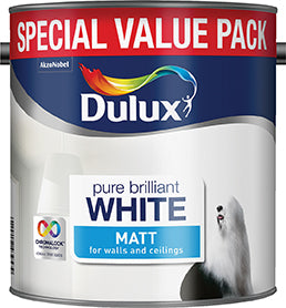 Dulux Matt Pure Brilliant White 3 Litres 5092364 - NORFOLK DELIVERY ONLY