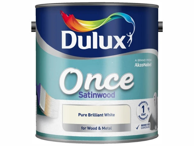 Dulux Once Satinwood Pure Brilliant White 2.5 Litres 5091096