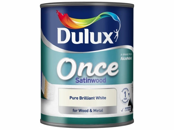 Dulux Once Satinwood Pure Brilliant White 750ml 5091095