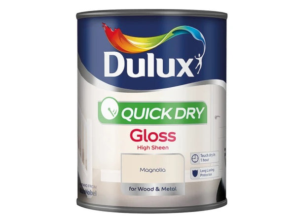 Dulux Quick Dry Gloss Magnolia 750ml 5211183