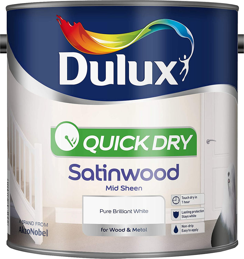 Dulux Quick Drying Satinwood Pure Brilliant White 2.5 Litres 5210890