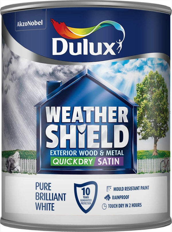 Dulux Weathershield Exterior Quick Dry Satin Pure Brilliant White 750ml